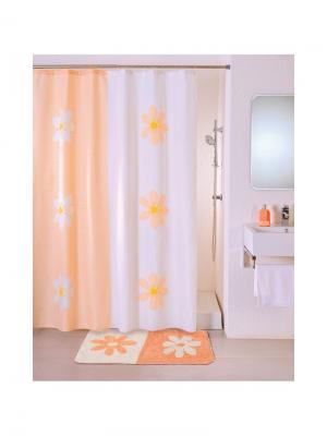 Штора для ванной IDDIS. Цвет: белый, оранжевый