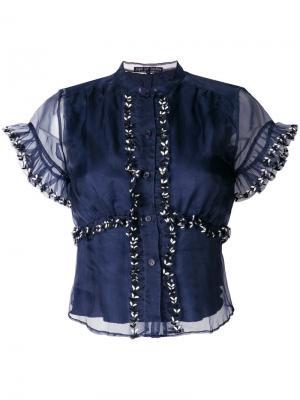 Рубашка из органзы с вышивкой Jupe By Jackie. Цвет: синий