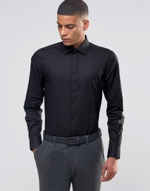 Number Eight Savile Row Строгая рубашка скинни с фигурной строчкой на груди Savil. Цвет: черный