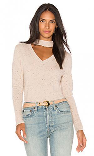 Кашемировый пуловер в твидовую крапинку с воротником-чокером 525 america. Цвет: беж