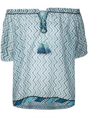 Блузка с зигзагообразным узором Talitha. Цвет: синий