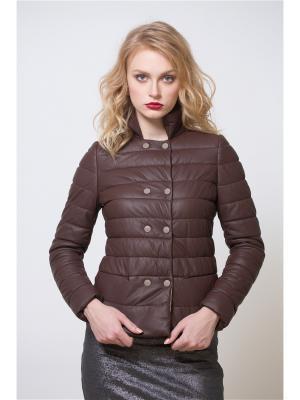 Кожаная куртка SUSSEX. Цвет: коричневый