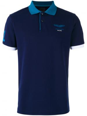 Рубашка-поло с принтом на груди Hackett. Цвет: синий