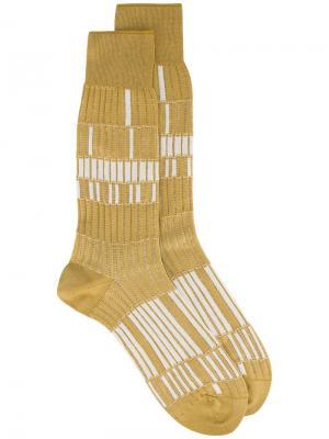 Бежевые носки с узором Basket Lunch Ayamé. Цвет: жёлтый и оранжевый
