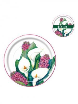Набор одноразовых десертных тарелок Каллы, диаметр 22,5 см, 10 шт/упак Bulgaree Green. Цвет: зеленый, белый, кремовый