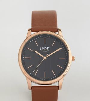 Limit Часы со светло-коричневым кожаным ремешком и полосками на циферблате L. Цвет: рыжий