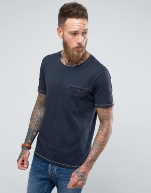 Nudie Jeans Футболка с карманом и контрастными швами Co Ove. Цвет: темно-синий