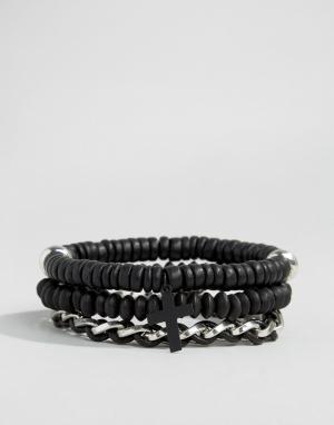 Icon Brand Набор браслетов в морском стиле. Цвет: черный