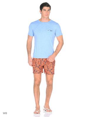 Шорты Boston Brothers. Цвет: оранжевый, темно-синий