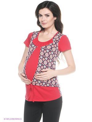Блузка для беременных и кормления 40 недель. Цвет: красный