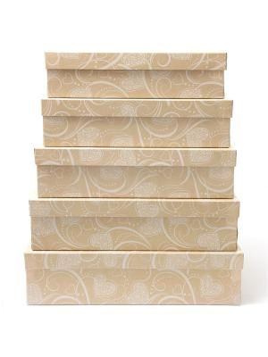 Коробка крафт  54, набор из 5 прямоугольных. 32х20х8 - 40х28х10 сантиметров. VELD-CO. Цвет: светло-коричневый, белый