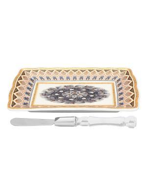 Тарелка под масло Калейдоскоп с ножом Elan Gallery. Цвет: серый