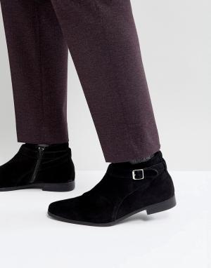 Zign Замшевые ботинки с пряжкой. Цвет: черный