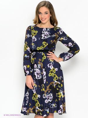 Платье IMAGO. Цвет: темно-синий, фиолетовый, желтый