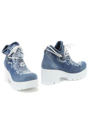 Ботинки летние Sandm. Цвет: синий