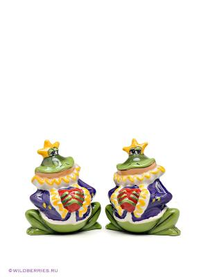 Набор соль-перец Принц Фрогги Blue Sky. Цвет: зеленый, фиолетовый, желтый
