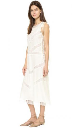 Кружевное платье-комбинация с текстурой пчелиных сот Wes Gordon. Цвет: белый