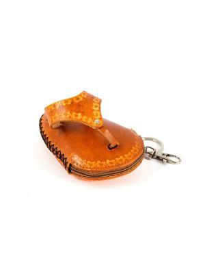Брелок-ключница Шлепанец Русские подарки. Цвет: рыжий