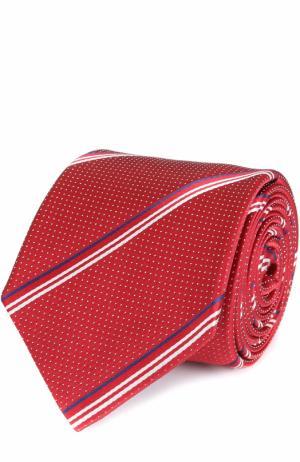 Шелковый галстук в полоску Canali. Цвет: красный