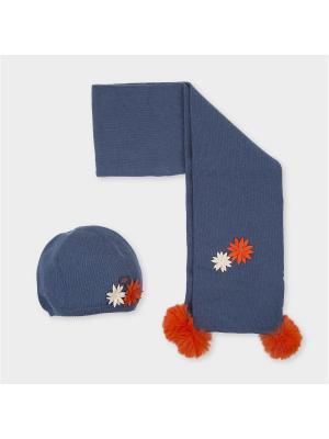 Комплект из шапки и шарфа Tutto Piccolo. Цвет: индиго, оранжевый, светло-серый