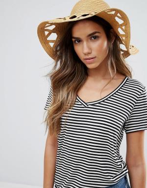 Vero Moda Соломенная шляпа с вырезами. Цвет: рыжий