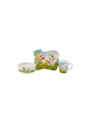Посуда  детская в наборе 3 предмета п/у. Elff Ceramics. Цвет: белый, голубой, желтый