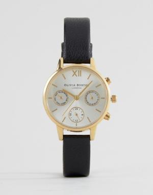 Olivia Burton Часы с черным кожаным ремешком и хронографом OB15CGM62. Цвет: золотой