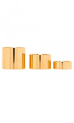 Кольцо geo Amber Sceats. Цвет: металлический золотой