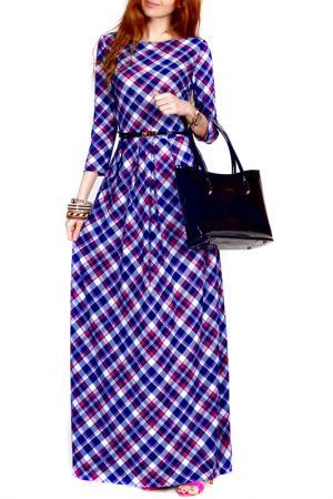 Платье FRANCESCA LUCINI. Цвет: клетка, сиреневый, бордовый