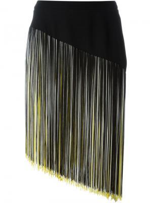 Асимметричная юбка с бахромой Christopher Kane. Цвет: чёрный