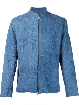 Куртка с цветочными эелементами By Walid. Цвет: синий