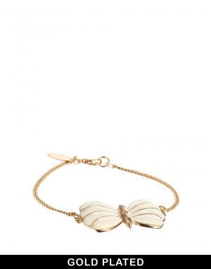 Позолоченный браслет с бабочкой And Mary. Цвет: золотой