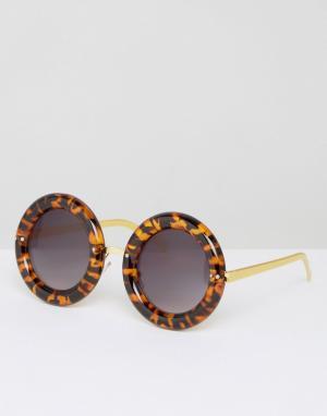7X Круглые солнцезащитные очки в массивной черепаховой оправе. Цвет: коричневый
