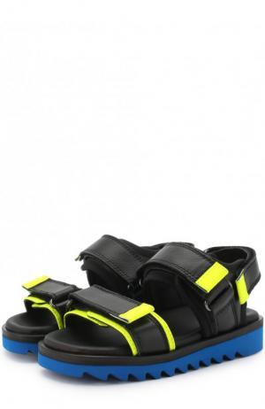 Кожаные сандалии на застежках велькро Gallucci. Цвет: черный