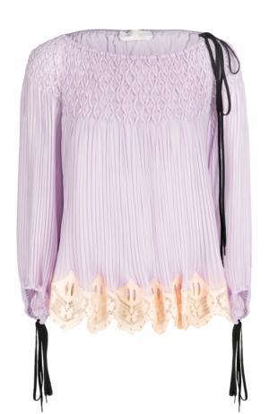Плиссированная блуза с вырезом-лодочка и шнуровкой Chloé. Цвет: лиловый