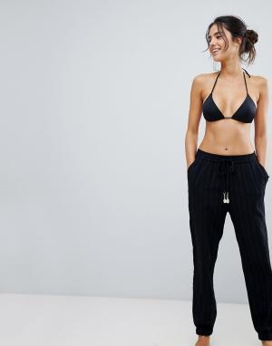 Seafolly Пляжные брюки из ткани добби. Цвет: черный