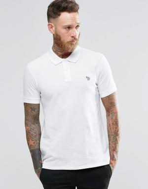 PS by Paul Smith Белая футболка-поло узкого кроя с логотипом. Цвет: белый