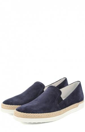 Замшевые слипоны с джутовым рантом Tod's. Цвет: темно-синий