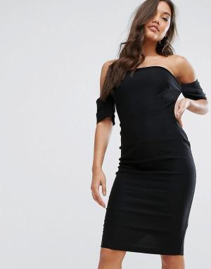 Vesper Платье-бандо с пуговицами. Цвет: черный