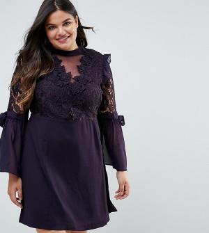 Truly You Платье мини с кружевом и бантами на рукавах Premium. Цвет: фиолетовый