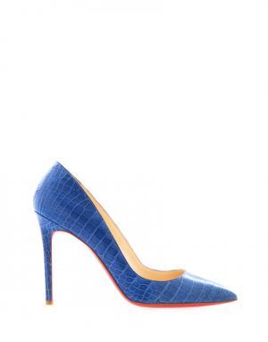Туфли из кожи крокодила Pigalle 100 Christian Louboutin. Цвет: синий