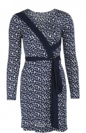 Платье с геометрическим принтом и V-образным вырезом на спине Diane Von Furstenberg. Цвет: синий