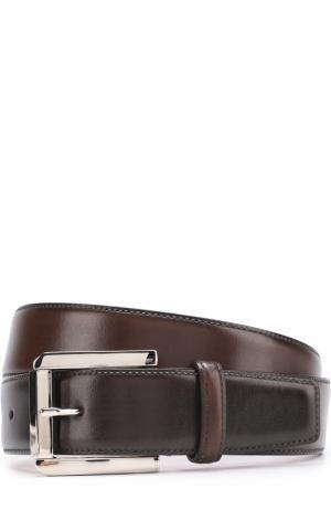 Кожаный ремень с металлической пряжкой Santoni. Цвет: темно-коричневый