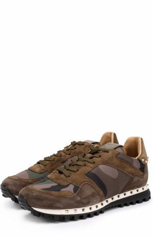 Комбинированные кроссовки  Garavani Rockrunner с камуфляжным принтом Valentino. Цвет: хаки