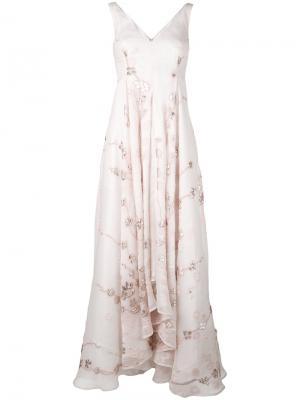 Вечернее платье с цветочными элементами Talbot Runhof. Цвет: телесный