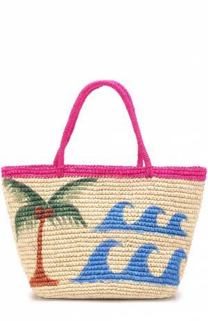 Плетеная сумка с принтом Sensi Studio. Цвет: бежевый