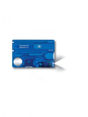 Швейцарская карточка  SwissCard Lite, 13 функций, полупрозрачная синяя. Victorinox. Цвет: синий