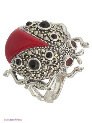 Кольцо МАРКАЗИТ. Цвет: серебристый, красный, черный