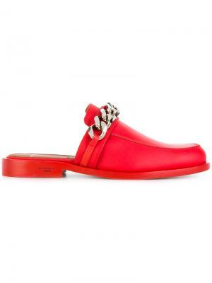 Слиперы с цепочной отделкой Givenchy. Цвет: красный