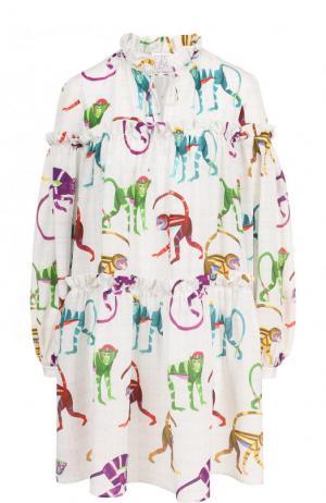 Шелковое мини-платье свободного кроя с принтом Stella Jean. Цвет: разноцветный